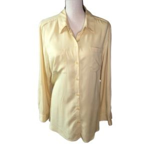 Chico's Yellow Long Sleeve Tunic Style Button Down